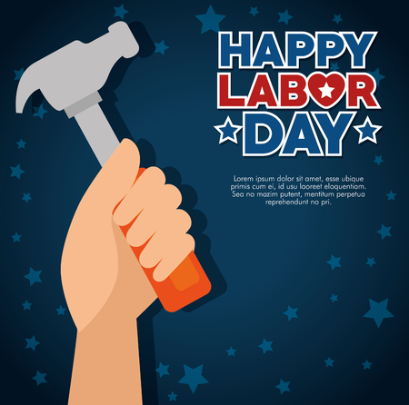 Hammer and hand of Labor day in Usa theme Vector illustration