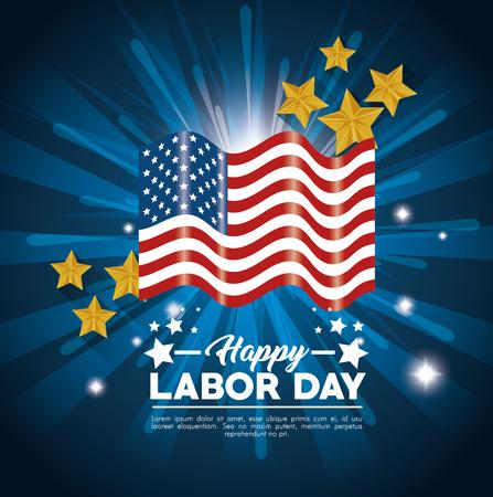 アメリカ テーマ ベクトル図の労働者の日の国旗