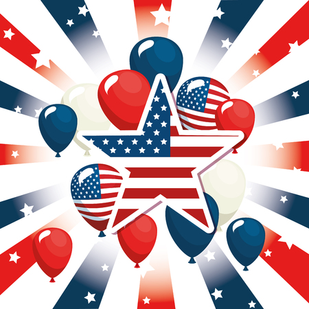 Star and balloons of Labor day in Usa theme Vector illustration 向量圖像