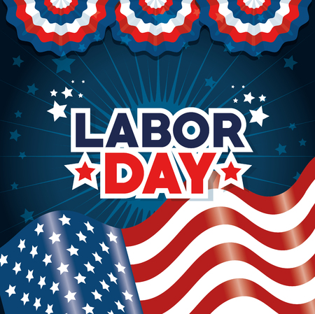 Flag of Labor day in Usa theme Vector illustration Ilustração