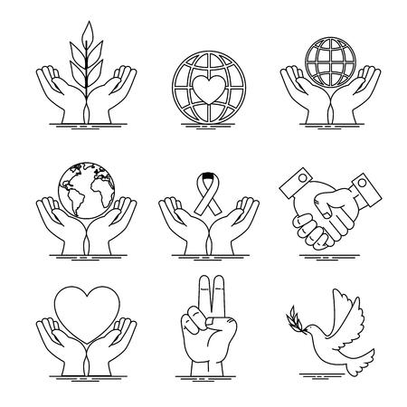 Icon set of Peace and love theme Vector illustration Illusztráció