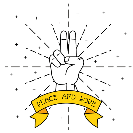 Human hand of peace and love theme Vector illustration