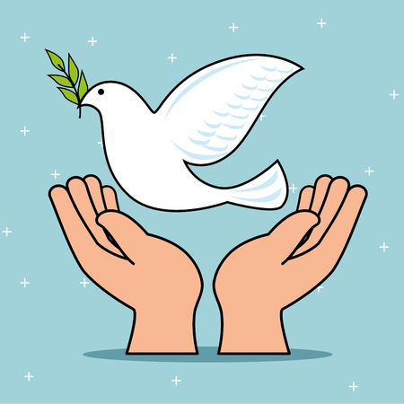 Dove and hands of Peace and love theme Vector illustration