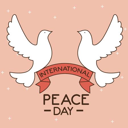 Dove of International peace day theme Vector illustration