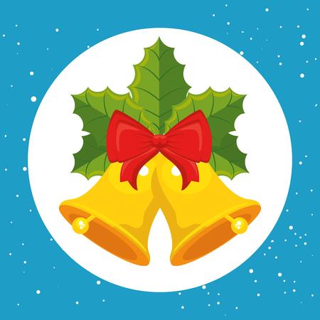 Bells with bowtie of Merry Christmas season theme Vector illustration Ilustracja