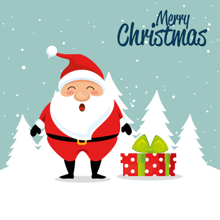 Santa and gift of Merry Christmas season theme Vector illustration Illustration