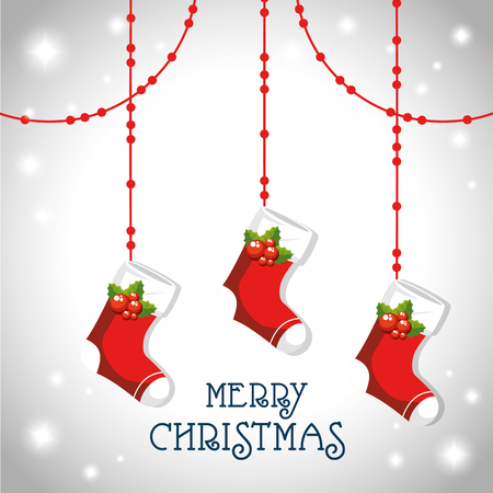Boot of Merry Christmas season theme Vector illustration