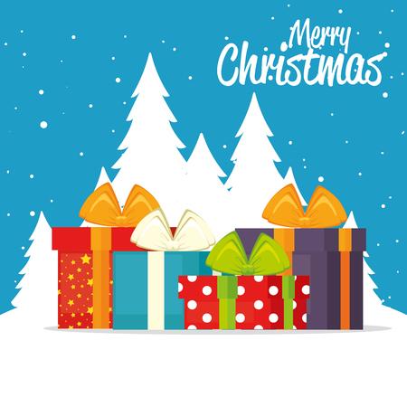 Gifts of Merry Christmas season theme Vector illustration