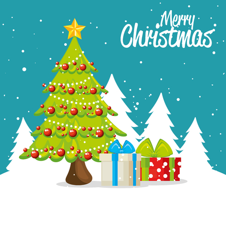 Pine tree of Merry Christmas season theme Vector illustration