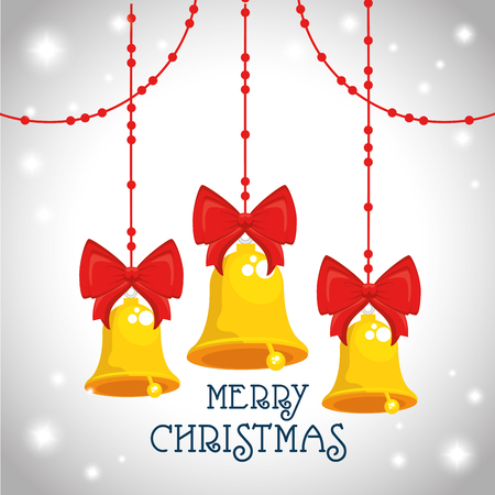 Bells with bowtie of Merry Christmas season theme Vector illustration Illustration