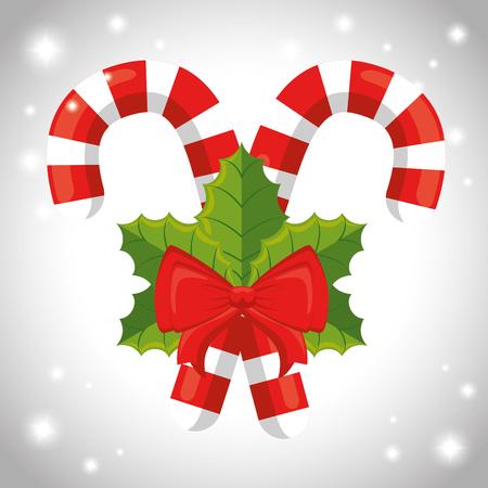 Candy cane of Merry Christmas season theme Vector illustration