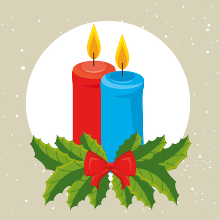 Candles of Merry Christmas season theme Vector illustration
