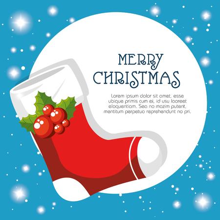 Boot of Merry Christmas season theme Vector illustration