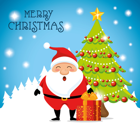 Santa and gift of Merry Christmas season theme Vector illustration Çizim