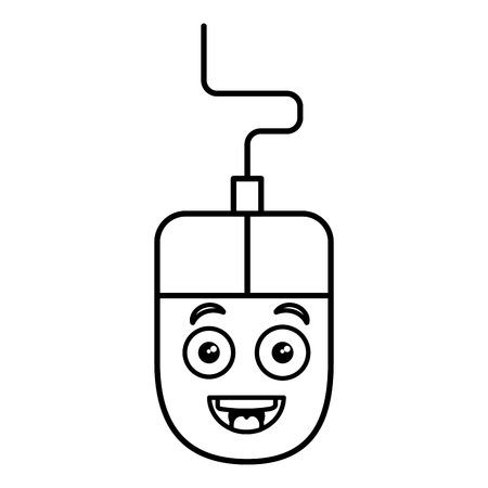 computer muis kawaii karakter vector illustratie ontwerp Stock Illustratie
