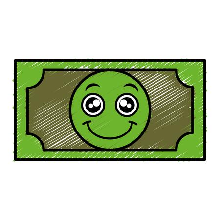 bill dollar money character vector illustration design