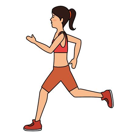 文字ベクトル イラスト デザインを実行している運動選手女性