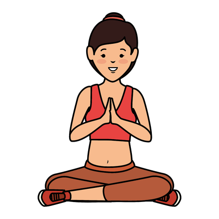 Athlete woman doing yoga vector illustration design Stock Vector - 84758791