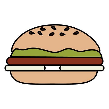 Köstlicher Burger lokalisiertes Illustrationsdesign Standard-Bild - 84737333