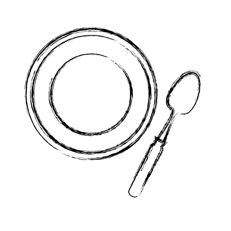 Spoon and dish cutlery isolated icon vector illustration design Ilustracja