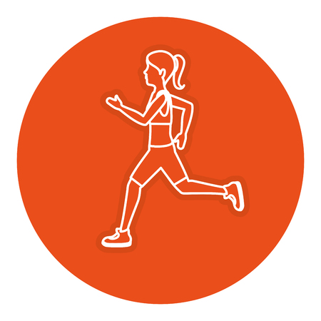 Ontwerp van de het karakter vectorillustratie van de atletenvrouw het lopende Stock Illustratie