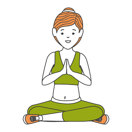 Athlete woman doing yoga vector illustration design Stock Vector - 84732837