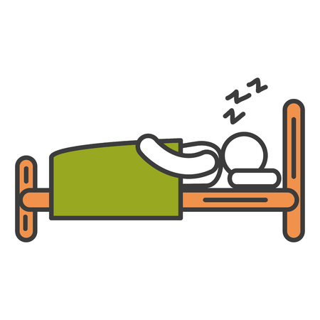 Human silhouette sleeping in the bed vector illustration design