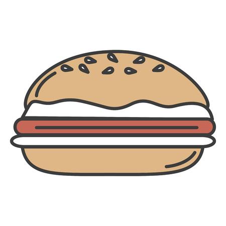 おいしいハンバーガー分離アイコン ベクトル イラスト デザイン