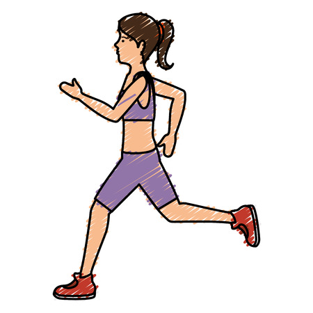 Athlete woman running character vector illustration design