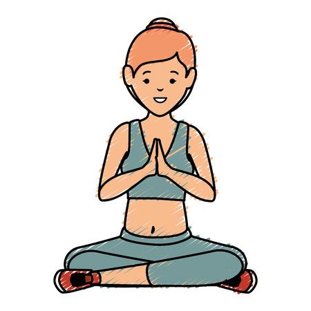 Athlete woman doing yoga vector illustration design Stock Vector - 84758843