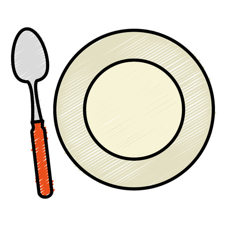 Spoon and dish, cutlery isolated icon vector illustration design