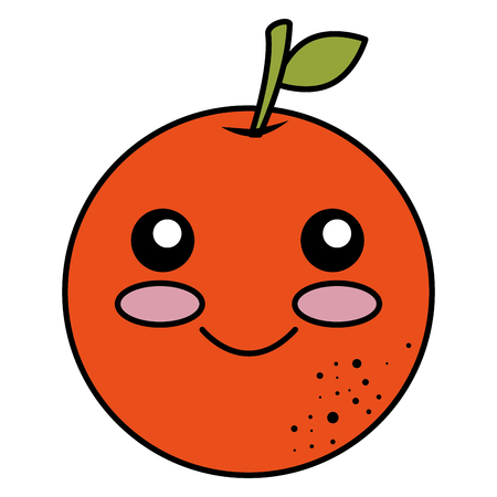 orange citrus fruit kawaii character vector illustration design