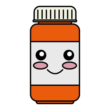 bottle drugs kawaii character vector illustration design