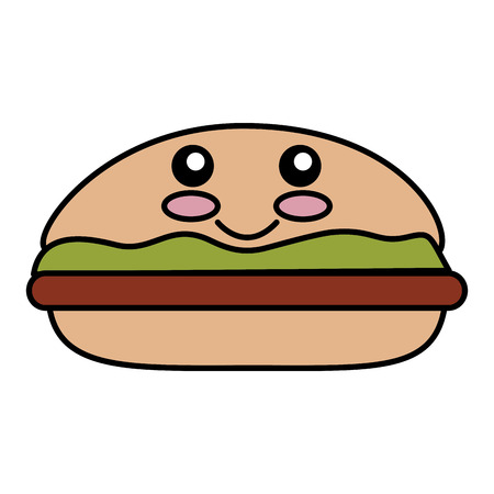 cheddar: delicious burger kawaii character vector illustration design