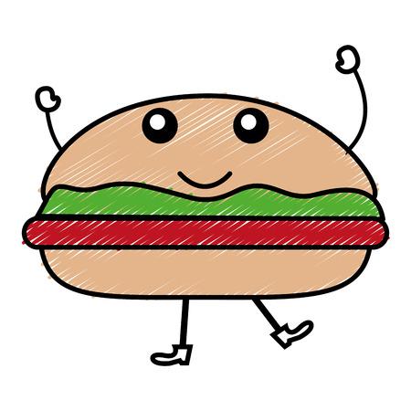 Delicious burger kawaii character vector illustration design. Illustration