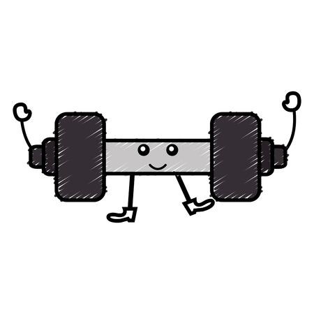 weight lifting gym kawaii character vector illustration design