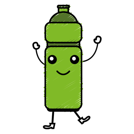 bottle gym kawaii character vector illustration design Illustration