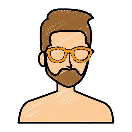 젊은이 shirtless 아바타 캐릭터 벡터 일러스트 레이션 디자인 스톡 콘텐츠 - 84741204