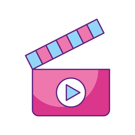 A clapperboard with media player isolated icon vector illustration design. 向量圖像