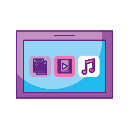 lcd display: tablet device with files vector illustration design