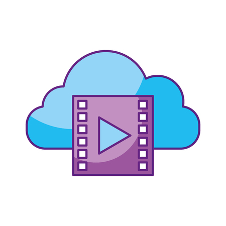 film industry: A cloud computing with tape media player isolated icon vector illustration design