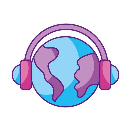 Planeta del mundo con diseño de ilustración de vector de icono aislado dispositivo de auriculares Foto de archivo - 84750201
