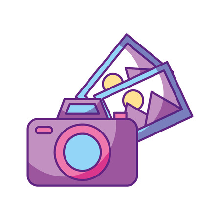 camera photographic with pictures vector illustration design Stok Fotoğraf - 84750646