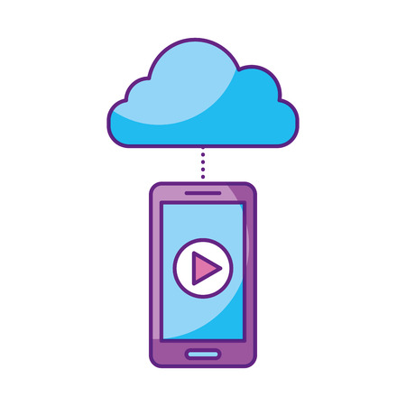 film industry: smartphone and cloud computing with media player isolated icon vector illustration design