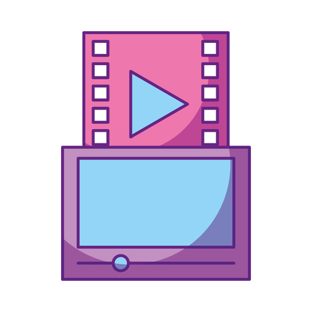A tablet with media player isolated icon vector illustration design.