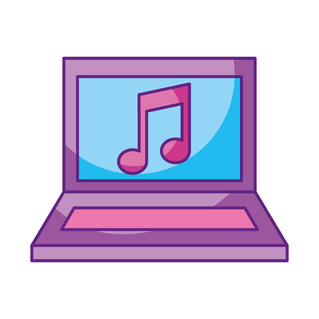 A laptop computer with music note isolated icon vector illustration design.