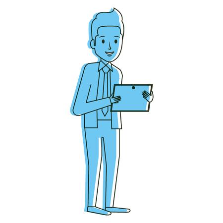smart boy: elegant businessman with tablet avatar character vector illustration design Illustration