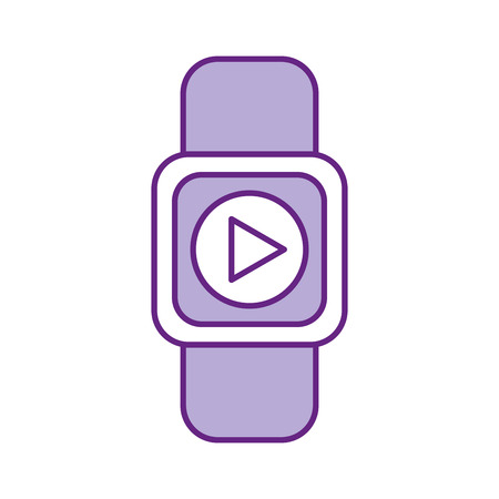 Smartwatch with media player isolated icon vector illustration design