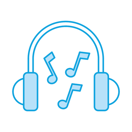 portable audio: earphones device with music notes vector illustration design