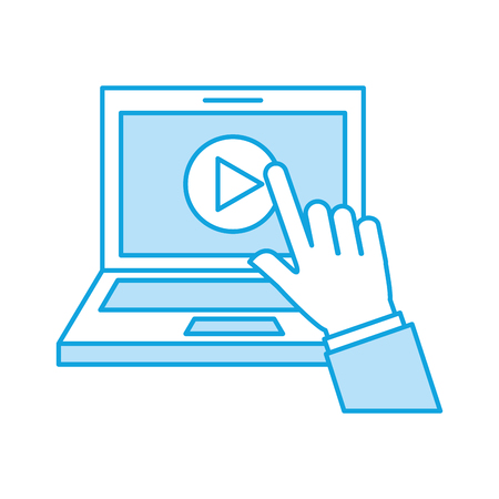 film industry: hand user laptop with media player isolated icon vector illustration design
